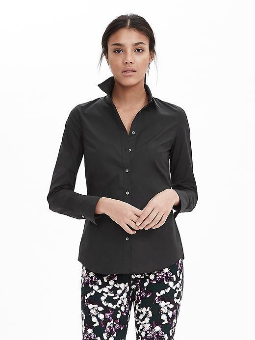 Riley Fit Poplin Shirt Black - neckline: shirt collar/peter pan/zip with opening; pattern: plain; style: shirt; predominant colour: black; occasions: casual, work, creative work; length: standard; fibres: cotton - stretch; fit: body skimming; sleeve length: 3/4 length; sleeve style: standard; pattern type: fabric; texture group: other - light to midweight; season: s/s 2016; wardrobe: basic