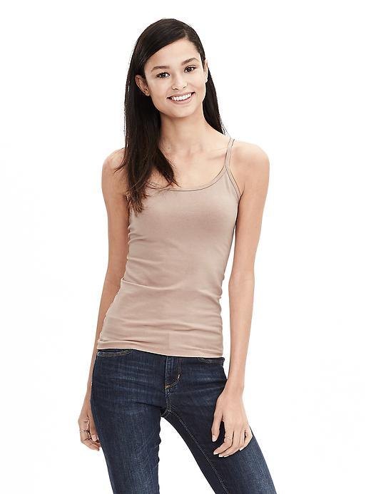New Essential Cami Sunset Foxglove - neckline: scoop neck; pattern: plain; sleeve style: sleeveless; style: standard; predominant colour: stone; occasions: casual; length: standard; fibres: cotton - mix; fit: tight; sleeve length: sleeveless; texture group: jersey - clingy; pattern type: fabric; season: s/s 2016; wardrobe: highlight