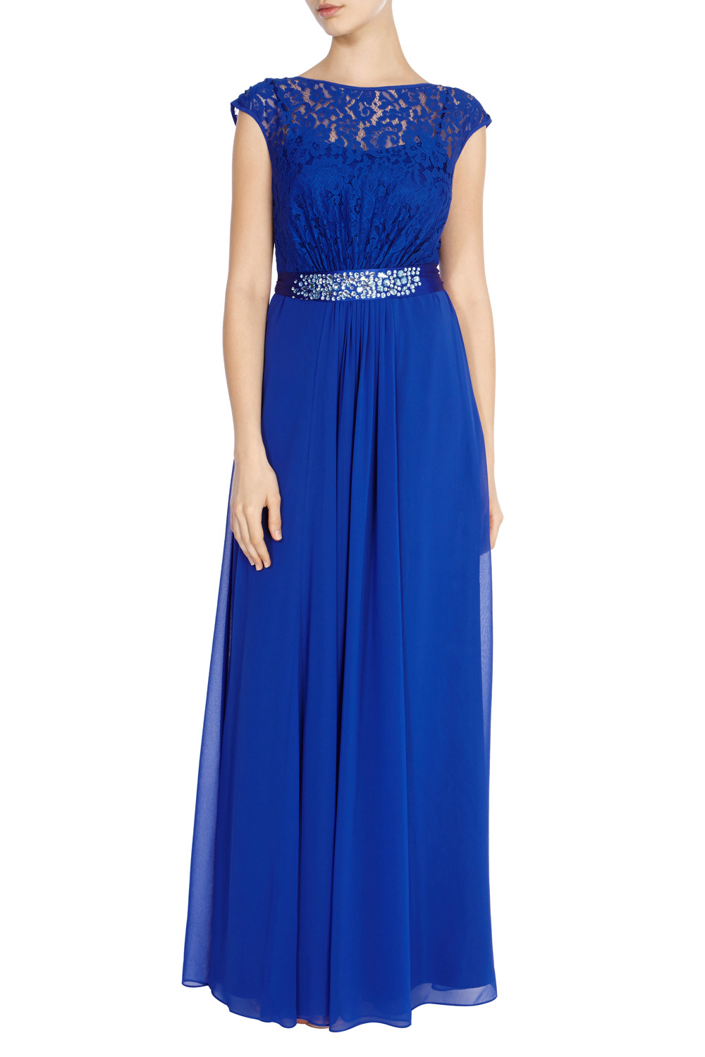 Lori Lee Lace Maxi Dress - sleeve style: capped; style: maxi dress; predominant colour: royal blue; length: floor length; fit: fitted at waist & bust; fibres: polyester/polyamide - 100%; occasions: occasion; neckline: crew; hip detail: subtle/flattering hip detail; waist detail: feature waist detail; sleeve length: short sleeve; texture group: sheer fabrics/chiffon/organza etc.; pattern type: fabric; pattern: patterned/print; embellishment: lace; shoulder detail: sheer at shoulder; season: s/s 2016; wardrobe: event; embellishment location: top