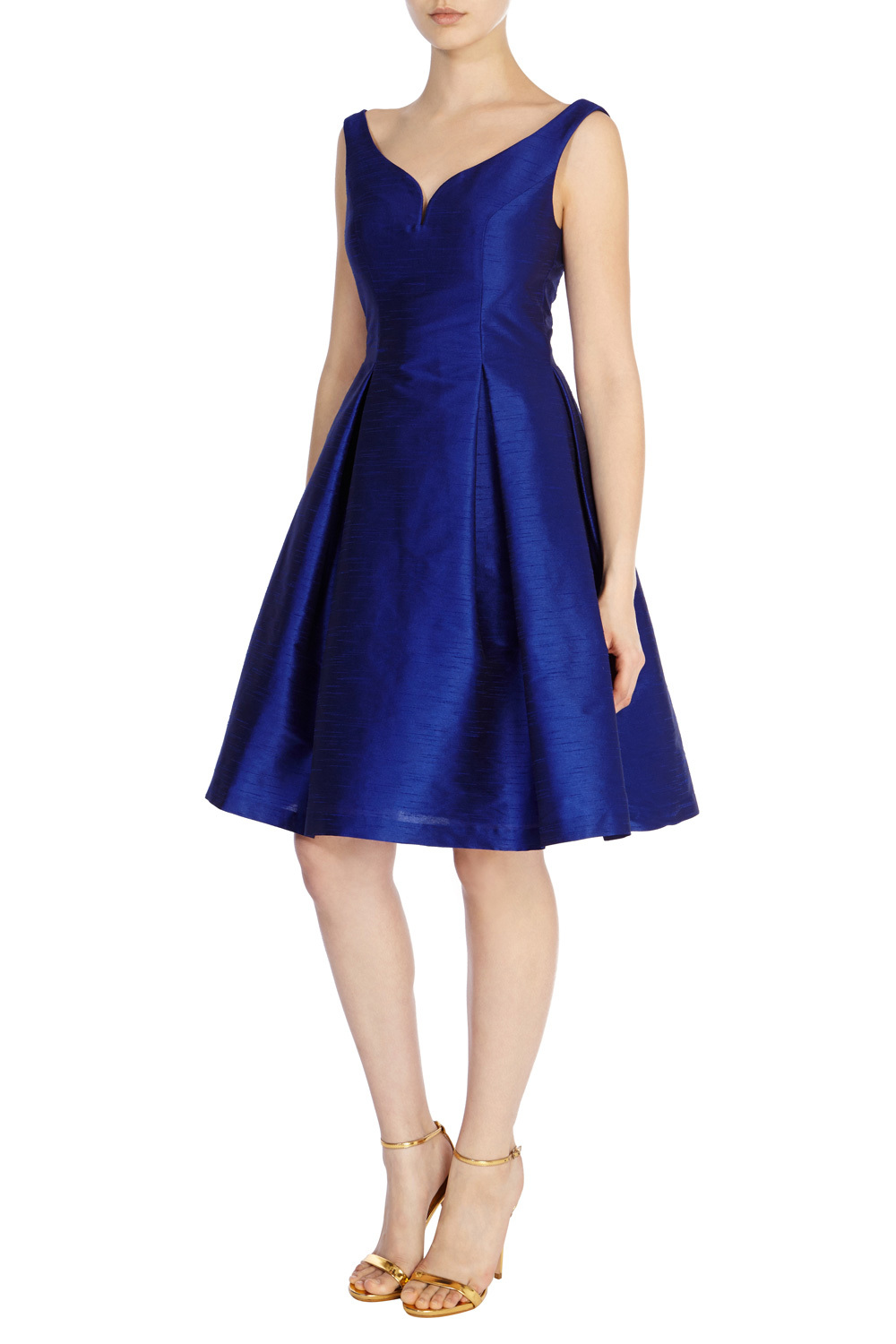 Giuglia Dress - neckline: low v-neck; pattern: plain; sleeve style: sleeveless; style: prom dress; predominant colour: royal blue; occasions: evening, occasion; length: on the knee; fit: fitted at waist & bust; fibres: silk - 100%; hip detail: adds bulk at the hips; sleeve length: sleeveless; texture group: structured shiny - satin/tafetta/silk etc.; pattern type: fabric; season: s/s 2016; wardrobe: event