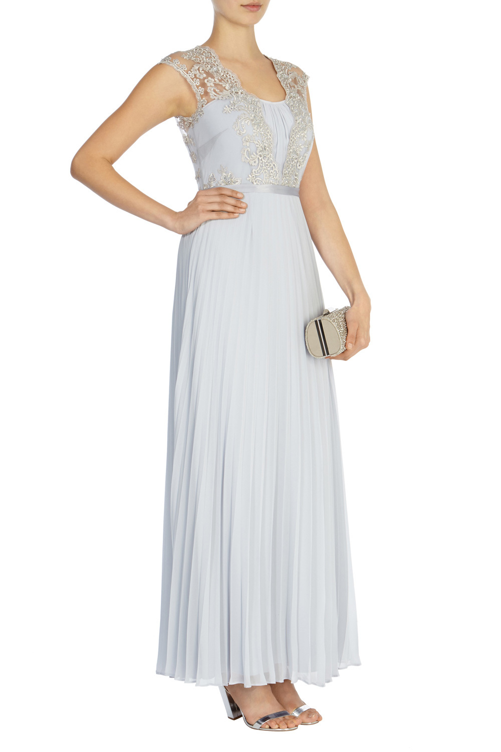 Lori Arlie Embellished Maxi - sleeve style: sleeveless; style: maxi dress; length: ankle length; predominant colour: pale blue; occasions: evening, occasion; fit: fitted at waist & bust; neckline: scoop; fibres: polyester/polyamide - 100%; hip detail: soft pleats at hip/draping at hip/flared at hip; bust detail: contrast pattern/fabric/detail at bust; sleeve length: sleeveless; texture group: sheer fabrics/chiffon/organza etc.; pattern type: fabric; pattern size: standard; pattern: patterned/print; embellishment: lace; season: s/s 2016