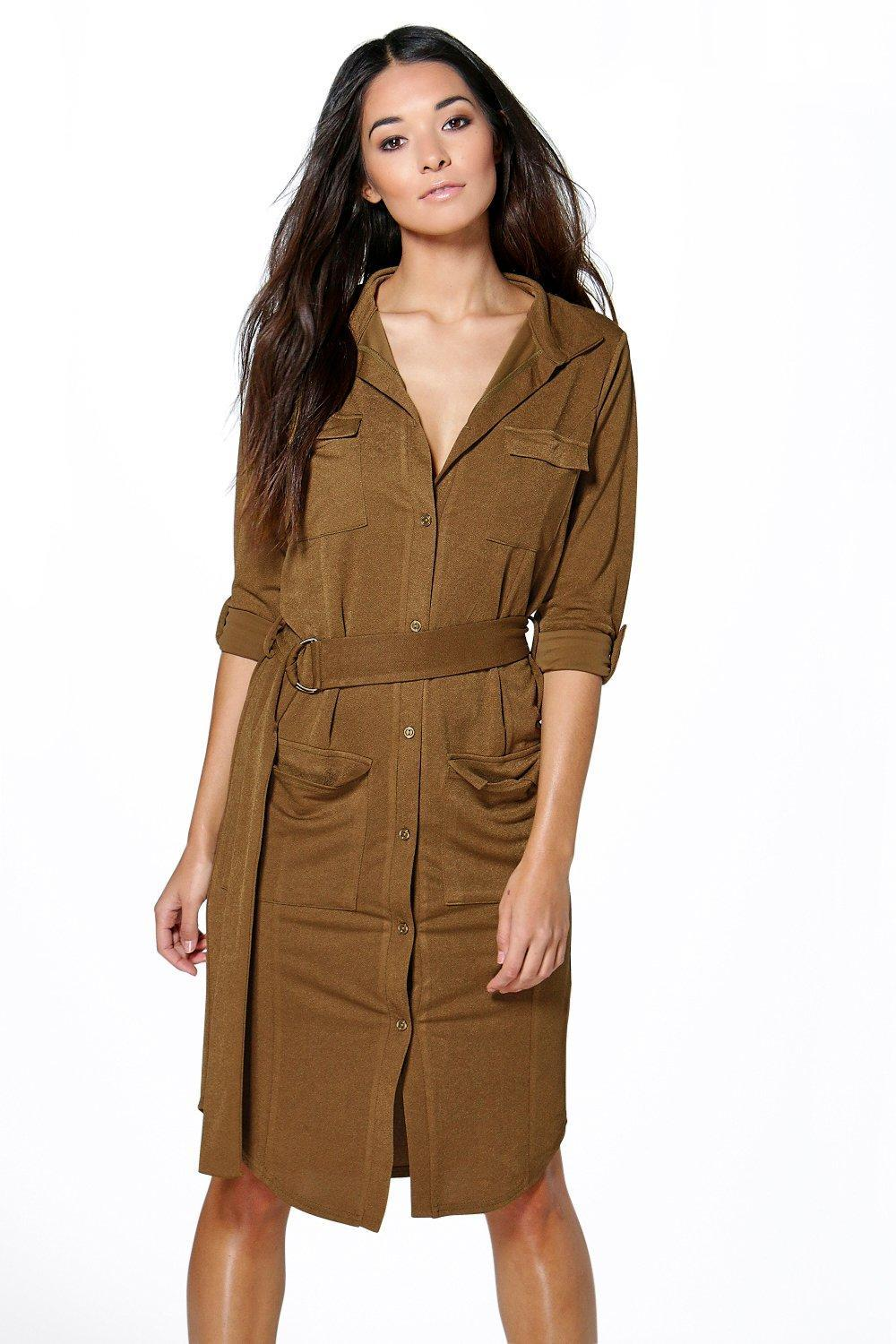 Tie Waist Pocket Shirt Dress Royal - style: shirt; neckline: low v-neck; pattern: plain; bust detail: pocket detail at bust; waist detail: belted waist/tie at waist/drawstring; predominant colour: khaki; occasions: evening, creative work; length: on the knee; fit: soft a-line; fibres: cotton - mix; sleeve length: half sleeve; sleeve style: standard; texture group: crepes; pattern type: fabric; pattern size: standard; season: s/s 2016; wardrobe: investment