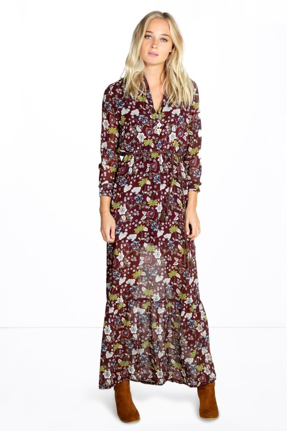 Bohemian Floral Plaited Belt Maxi Dress Black - neckline: v-neck; style: maxi dress; length: ankle length; secondary colour: true red; predominant colour: black; occasions: evening, creative work; fit: soft a-line; fibres: polyester/polyamide - 100%; sleeve length: long sleeve; sleeve style: standard; texture group: crepes; pattern type: fabric; pattern size: big & busy; pattern: patterned/print; season: s/s 2016; wardrobe: highlight; embellishment location: bust