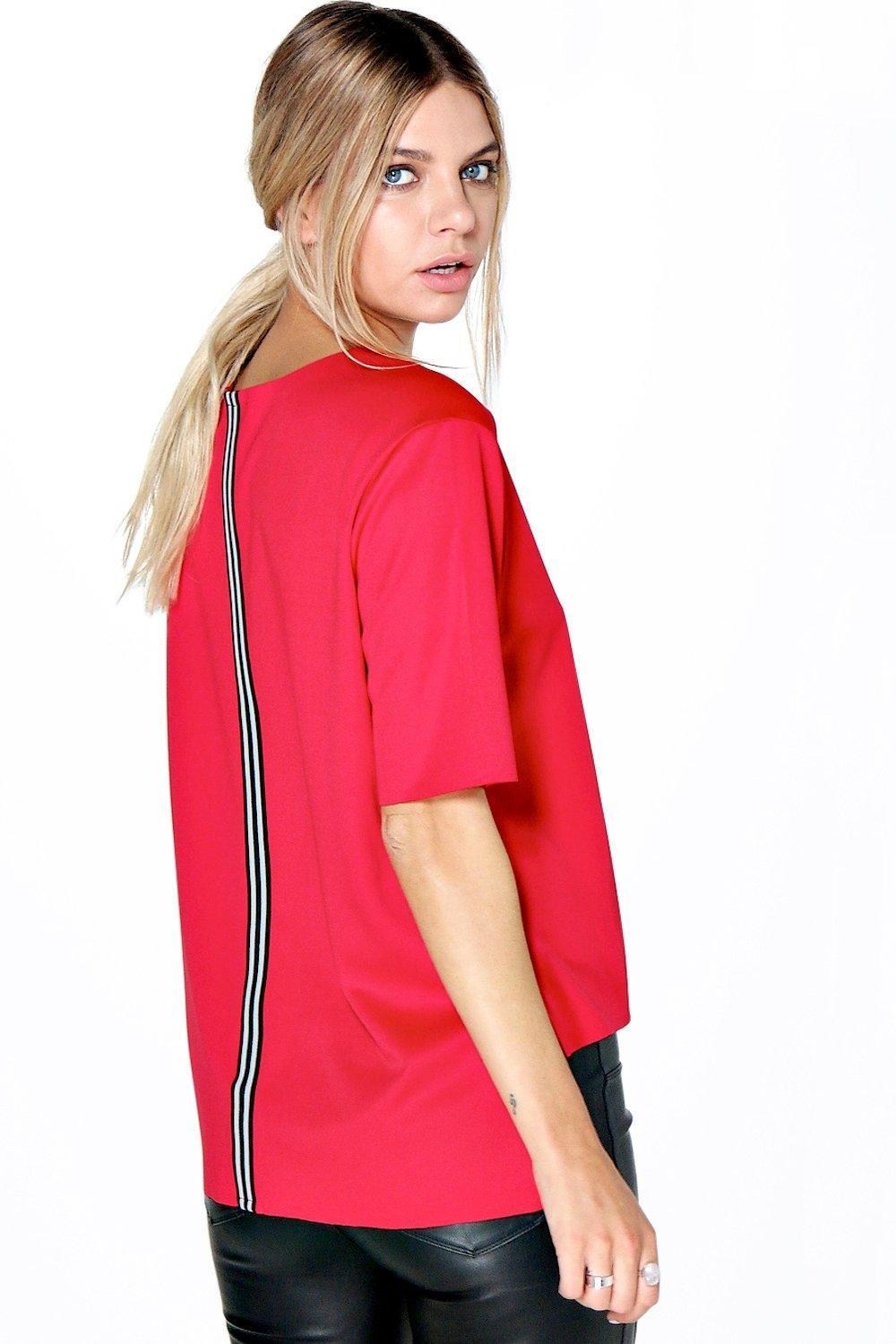 Back Stripe Scuba Shell Top Red - neckline: round neck; pattern: plain; predominant colour: true red; occasions: casual, creative work; length: standard; style: top; fibres: polyester/polyamide - stretch; fit: straight cut; back detail: longer hem at back than at front; sleeve length: short sleeve; sleeve style: standard; pattern type: fabric; texture group: other - light to midweight; season: s/s 2016; wardrobe: highlight