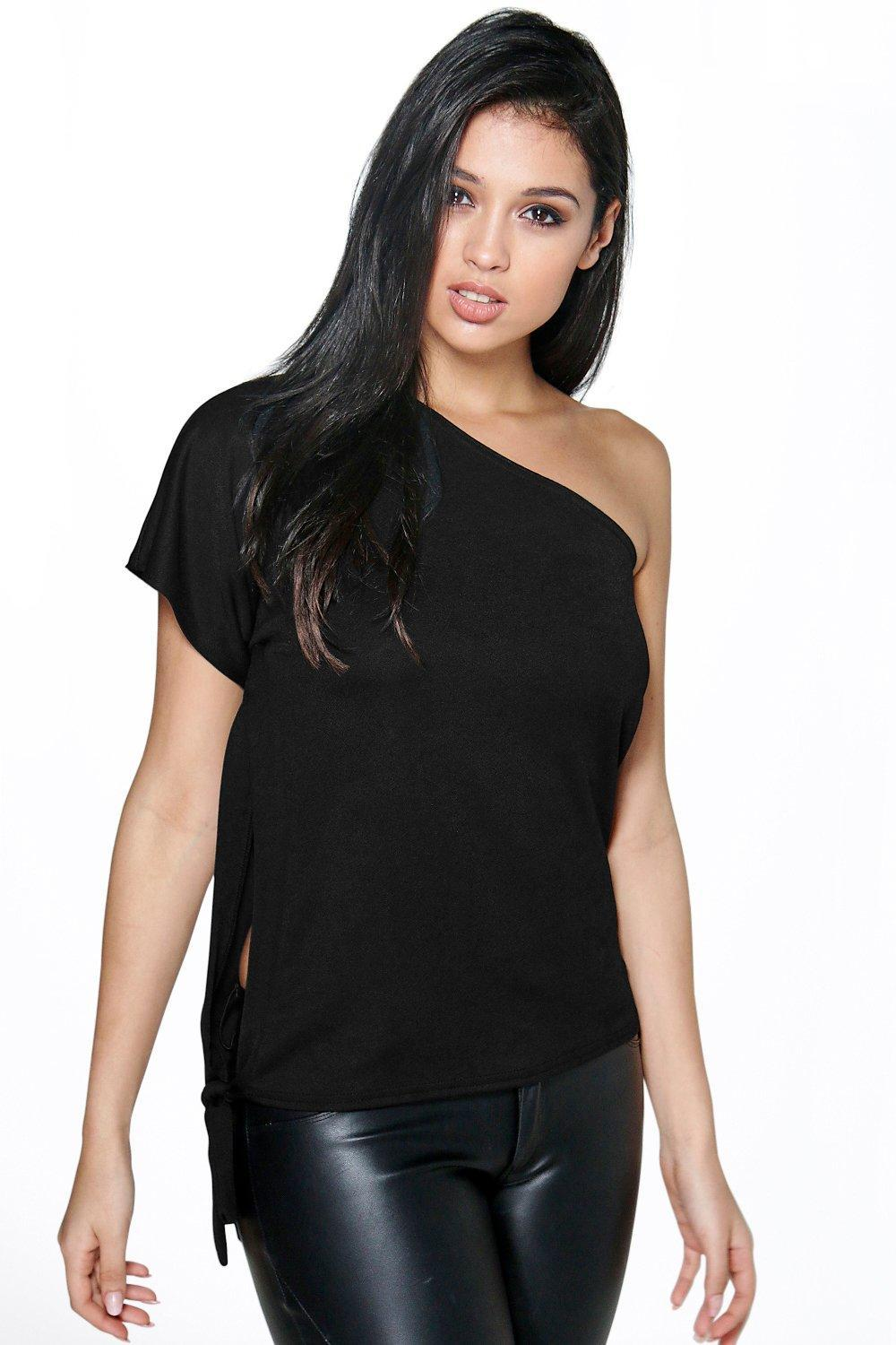 Open Side Tie Boxy Top Ivory - pattern: plain; neckline: asymmetric; predominant colour: black; occasions: evening; length: standard; style: top; fibres: polyester/polyamide - 100%; fit: straight cut; hip detail: subtle/flattering hip detail; sleeve length: short sleeve; sleeve style: standard; texture group: sheer fabrics/chiffon/organza etc.; pattern type: fabric; season: s/s 2016; wardrobe: event