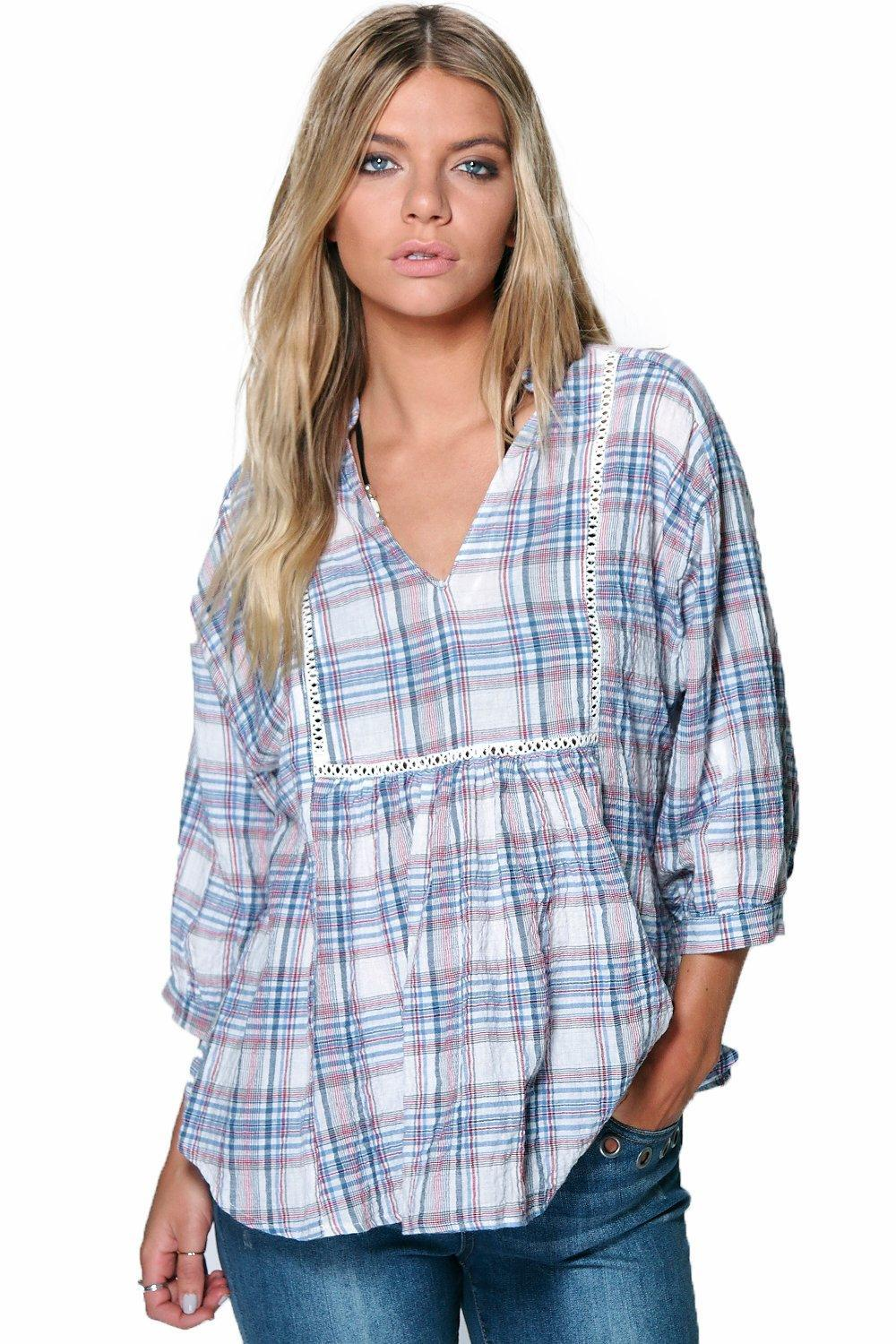 Crinkle Check Smock Shirt Multi - neckline: low v-neck; pattern: checked/gingham; length: below the bottom; style: shirt; waist detail: flattering waist detail; secondary colour: lilac; predominant colour: pale blue; occasions: casual; fibres: cotton - 100%; fit: loose; sleeve length: 3/4 length; sleeve style: standard; pattern type: fabric; texture group: other - light to midweight; pattern size: big & busy (top); season: s/s 2016; wardrobe: highlight