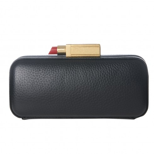 Black Grainy Leather Carrie Clutch - secondary colour: gold; predominant colour: black; occasions: evening, occasion; type of pattern: standard; style: clutch; length: hand carry; size: small; material: leather; pattern: plain; finish: plain; embellishment: chain/metal; season: s/s 2016; wardrobe: event
