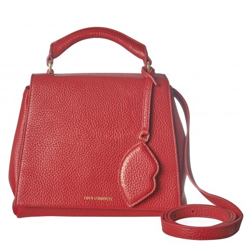 Red Grainy Leather Small Rita - occasions: casual; type of pattern: standard; style: shoulder; length: across body/long; size: small; material: leather; pattern: plain; finish: plain; predominant colour: raspberry; season: s/s 2016