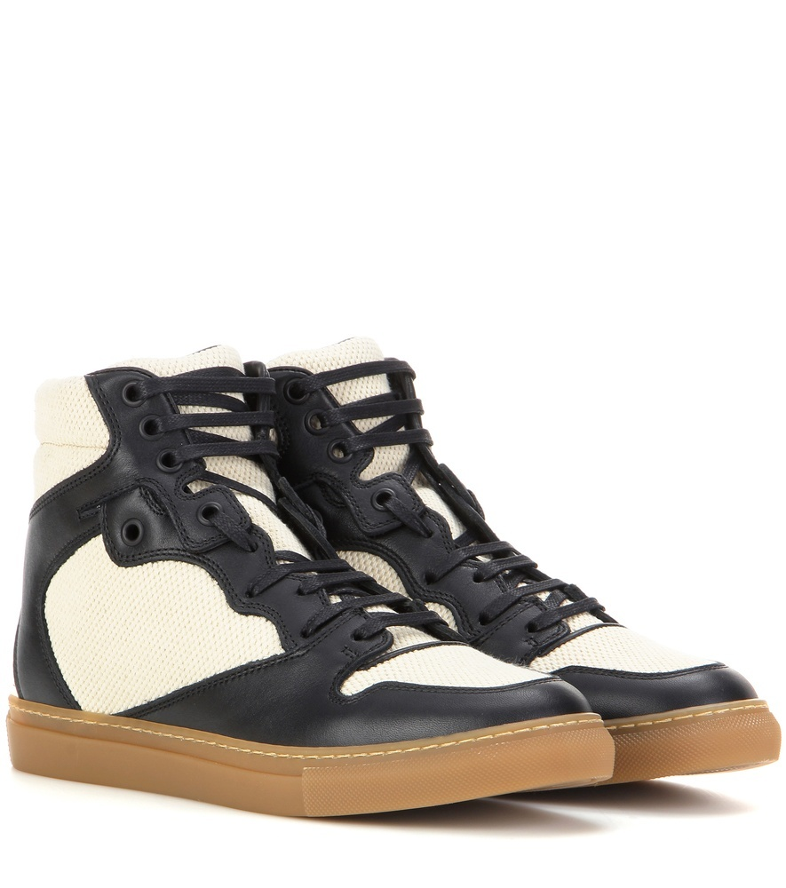 Leather And Fabric High Top Sneakers - predominant colour: ivory/cream; secondary colour: ivory/cream; occasions: casual, creative work; material: leather; heel height: flat; toe: round toe; style: trainers; finish: plain; pattern: colourblock; shoe detail: moulded soul; season: s/s 2016