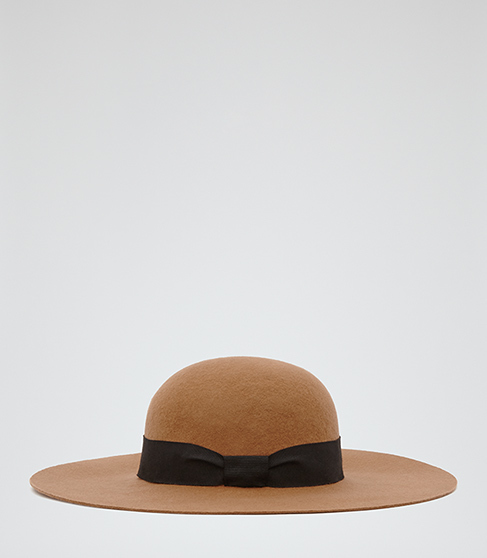 Ana Wide Brim Hat - predominant colour: camel; secondary colour: black; occasions: casual; type of pattern: light; style: wide brimmed; size: large; material: fabric; pattern: plain; embellishment: bow; season: s/s 2016; wardrobe: highlight