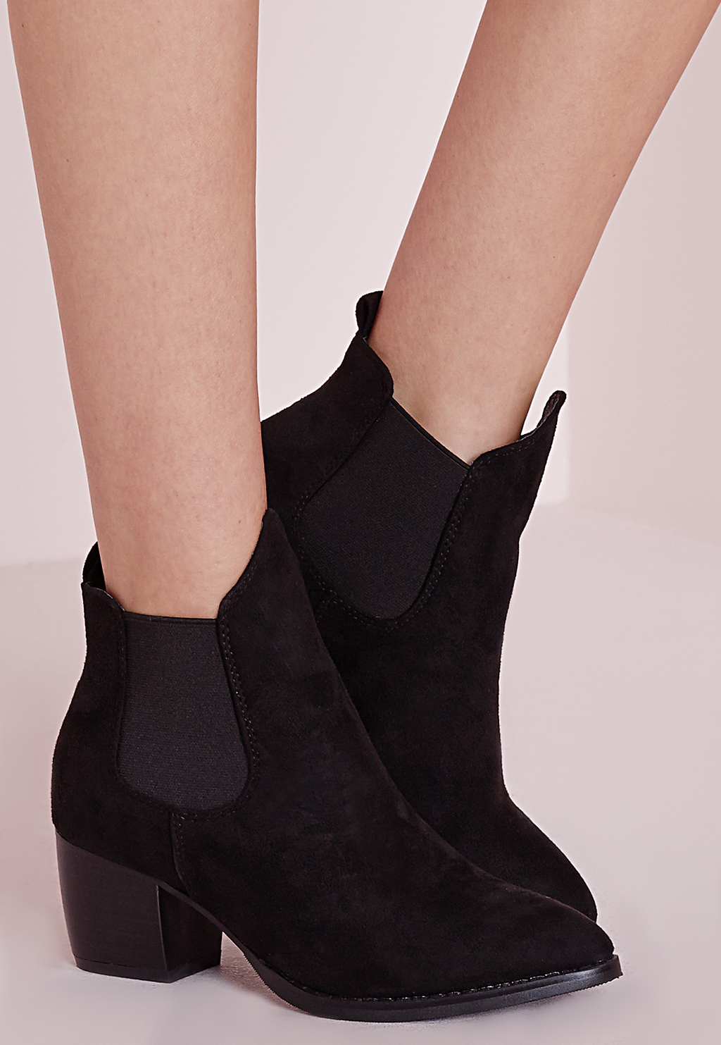 Low Heel Chelsea Boots Black, Black - predominant colour: black; occasions: casual, creative work; material: suede; heel height: mid; heel: standard; toe: pointed toe; boot length: ankle boot; style: cowboy; finish: plain; pattern: plain; season: s/s 2016; wardrobe: basic