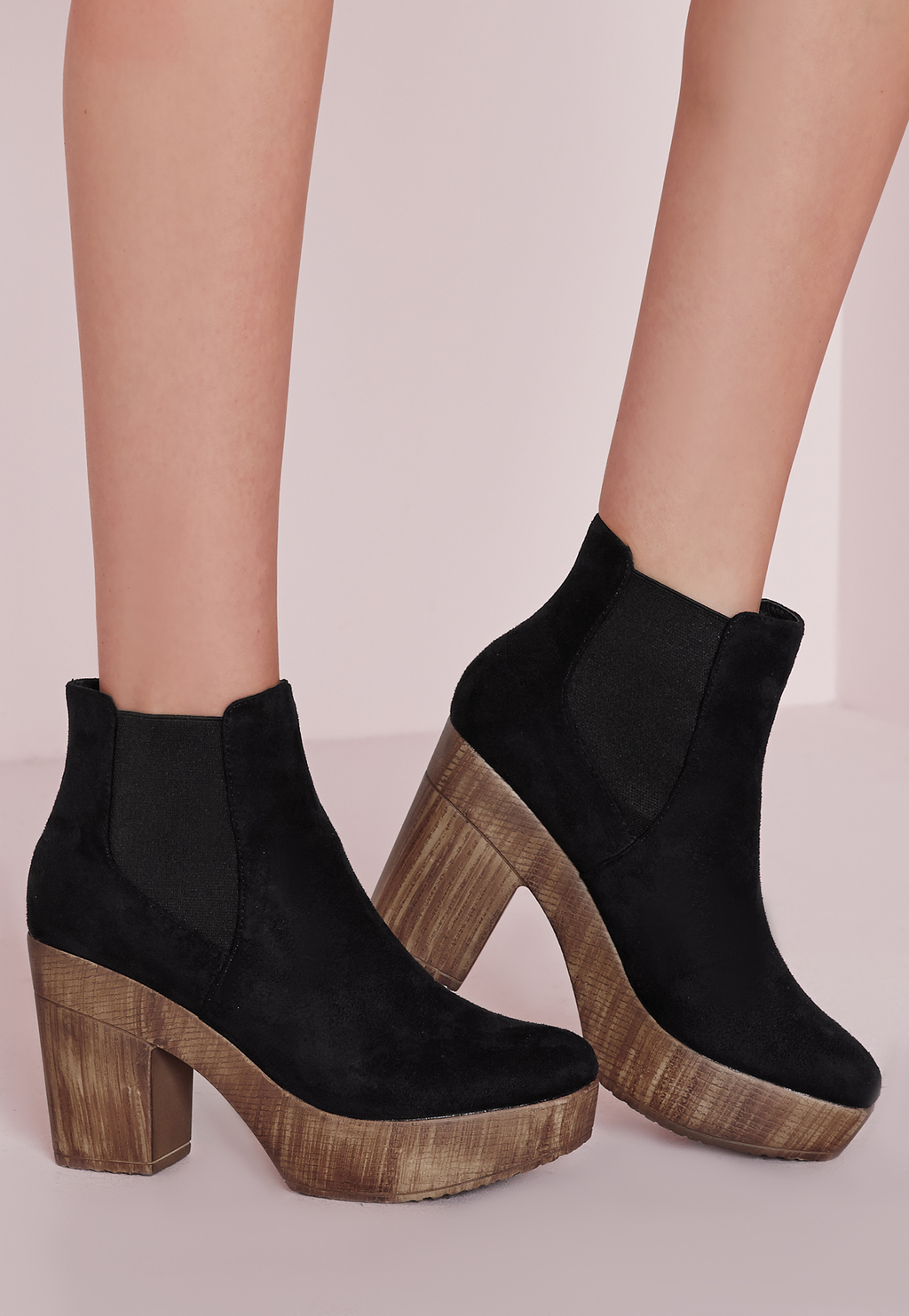 70's Clog Ankle Boots Black, Black - secondary colour: camel; predominant colour: black; occasions: casual, creative work; material: suede; heel height: high; heel: block; toe: open toe/peeptoe; boot length: ankle boot; style: standard; finish: plain; pattern: plain; shoe detail: platform; season: s/s 2016; wardrobe: highlight