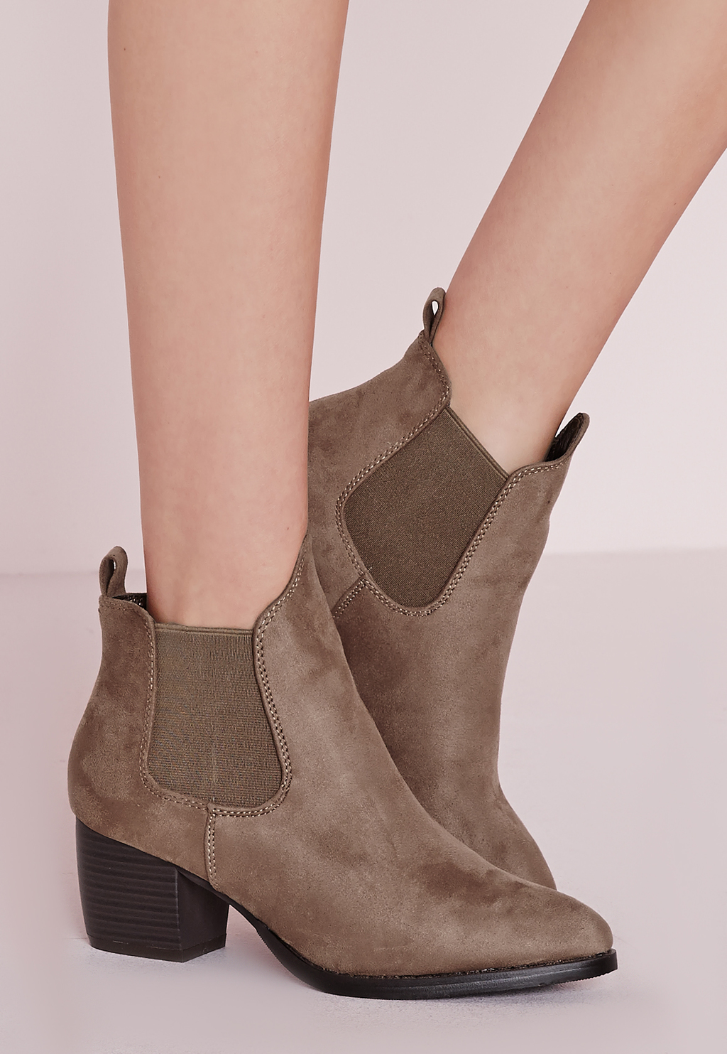 Low Heel Chelsea Boots Taupe, Grey - predominant colour: taupe; occasions: casual, creative work; heel height: mid; heel: standard; toe: round toe; boot length: ankle boot; finish: plain; pattern: plain; material: faux suede; style: chelsea; season: s/s 2016; wardrobe: basic