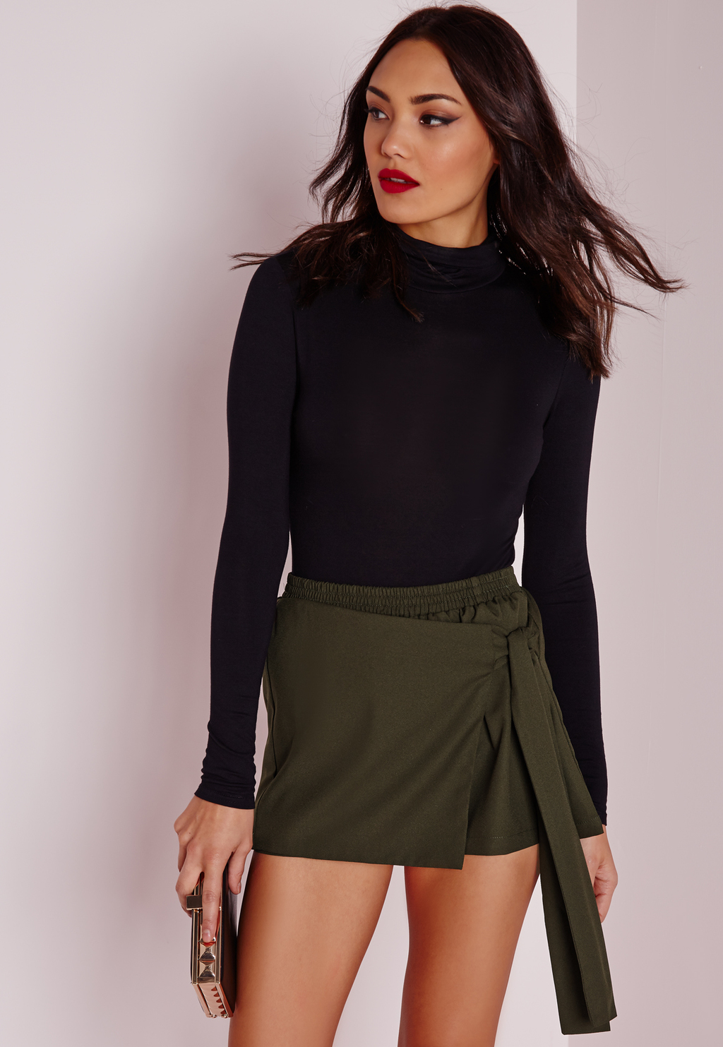 Wrap Over Tie Skort Khaki, Beige - length: mini; pattern: plain; fit: tight; waist: high rise; predominant colour: khaki; occasions: evening; style: mini skirt; fibres: cotton - stretch; texture group: jersey - clingy; pattern type: fabric; season: s/s 2016; wardrobe: event