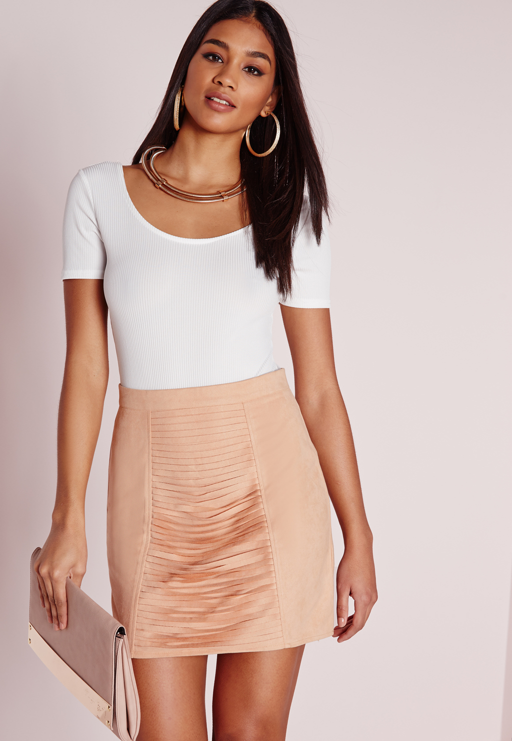 Faux Suede Slash Front Mini Skirt Nude, Peach - length: mini; pattern: plain; fit: tailored/fitted; waist: high rise; predominant colour: nude; occasions: evening; style: mini skirt; fibres: polyester/polyamide - mix; pattern type: fabric; texture group: suede; season: s/s 2016; wardrobe: event; embellishment location: hip