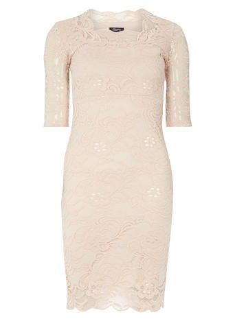 Womens **Fever Fish Peach Lace Scallop Dress Pink - style: shift; neckline: high square neck; pattern: plain; predominant colour: blush; occasions: evening; length: just above the knee; fit: body skimming; sleeve length: short sleeve; sleeve style: standard; texture group: lace; pattern type: fabric; fibres: nylon - stretch; season: s/s 2016; wardrobe: event