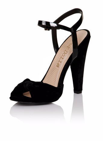 Womens **Paper Dolls Black 'wilde' Peep Toe Court Shoes Black - predominant colour: black; occasions: evening; material: suede; ankle detail: ankle strap; heel: cone; toe: open toe/peeptoe; style: standard; finish: plain; pattern: plain; heel height: very high; season: s/s 2016; wardrobe: event