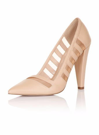 Womens **Paper Dolls Nude 'monet' Court Shoes White - predominant colour: nude; occasions: evening, occasion; material: faux leather; heel height: high; heel: standard; toe: pointed toe; style: courts; finish: plain; pattern: patterned/print; season: s/s 2016; wardrobe: event