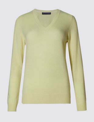 Pure Cashmere V Neck Jumper - neckline: v-neck; pattern: plain; style: standard; predominant colour: primrose yellow; occasions: casual, creative work; length: standard; fit: standard fit; fibres: cashmere - 100%; sleeve length: long sleeve; sleeve style: standard; texture group: knits/crochet; pattern type: knitted - fine stitch; pattern size: standard; season: s/s 2015; wardrobe: highlight