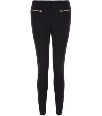 Black Zip Front Bengaline Slim Leg Trousers - length: standard; pattern: plain; waist: mid/regular rise; predominant colour: black; occasions: casual, creative work; fibres: viscose/rayon - stretch; texture group: jersey - clingy; fit: slim leg; pattern type: fabric; style: standard; embellishment: zips; season: s/s 2016