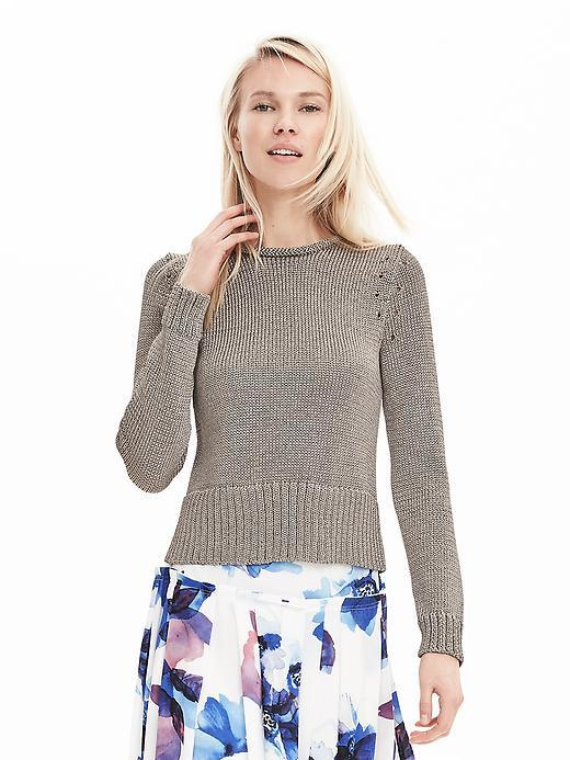 Metallic Pullover Sweater Gold Bridge - pattern: plain; style: standard; predominant colour: taupe; occasions: casual, work, creative work; length: standard; fibres: polyester/polyamide - 100%; fit: slim fit; neckline: crew; sleeve length: long sleeve; sleeve style: standard; texture group: knits/crochet; pattern type: knitted - fine stitch; season: s/s 2016; wardrobe: basic