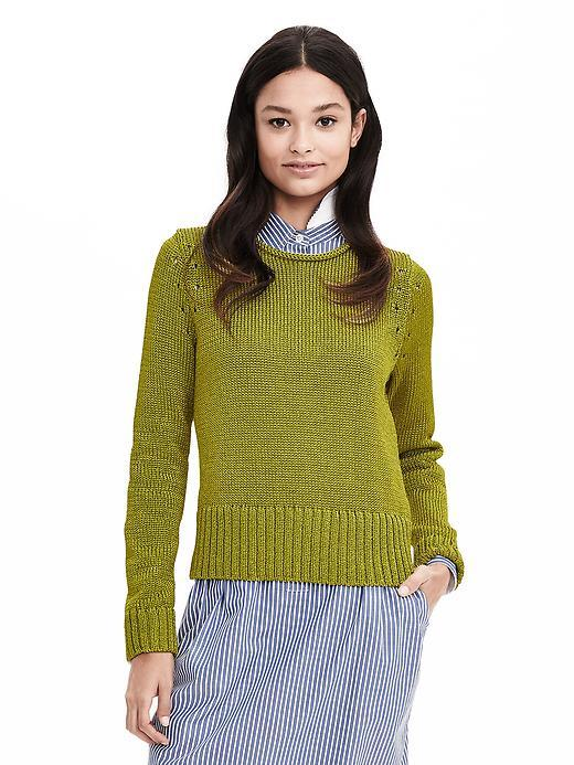 Metallic Pullover Sweater Limestone - neckline: round neck; pattern: plain; style: standard; predominant colour: khaki; occasions: casual, work, creative work; length: standard; fibres: polyester/polyamide - 100%; fit: standard fit; sleeve length: long sleeve; sleeve style: standard; texture group: knits/crochet; pattern type: knitted - fine stitch; season: s/s 2016; wardrobe: basic