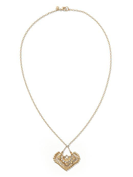 Embroidered Pendant Necklace Gold - predominant colour: gold; occasions: casual, creative work; style: pendant; length: mid; size: standard; material: chain/metal; finish: plain; season: s/s 2016