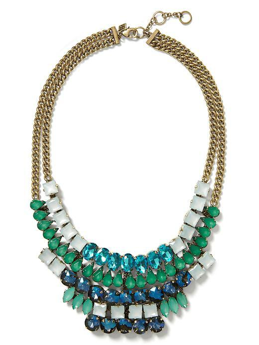 Mosaic Blue Necklace Blue Multi - predominant colour: royal blue; secondary colour: emerald green; occasions: evening, occasion; length: mid; size: large/oversized; material: chain/metal; finish: metallic; embellishment: jewels/stone; style: bib/statement; season: s/s 2016; wardrobe: event