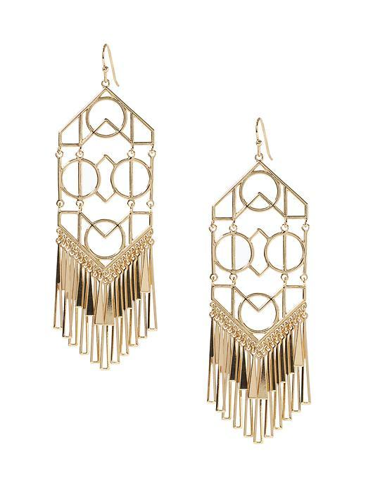 Tangier Tile Chandelier Earring Gold - predominant colour: gold; occasions: evening, occasion; style: chandelier; length: long; size: large/oversized; material: chain/metal; fastening: pierced; finish: plain; season: s/s 2016; wardrobe: event
