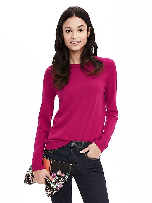 Extra Fine Merino Wool Pullover Sweater Pink Blossom - neckline: round neck; pattern: plain; style: standard; predominant colour: hot pink; occasions: casual, work, creative work; length: standard; fibres: wool - 100%; fit: slim fit; sleeve length: long sleeve; sleeve style: standard; texture group: knits/crochet; pattern type: knitted - fine stitch; season: s/s 2016; wardrobe: highlight