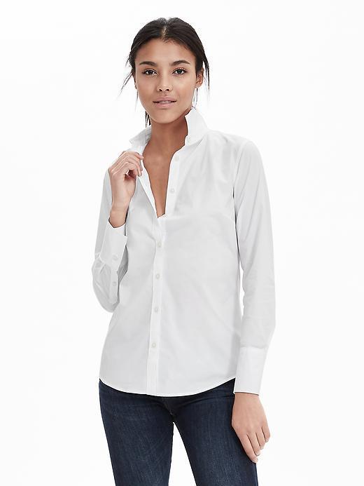 Riley Fit Poplin Shirt White - neckline: shirt collar/peter pan/zip with opening; pattern: plain; style: shirt; predominant colour: white; occasions: casual, work, creative work; length: standard; fibres: cotton - stretch; fit: body skimming; sleeve length: long sleeve; sleeve style: standard; pattern type: fabric; texture group: other - light to midweight; season: s/s 2016