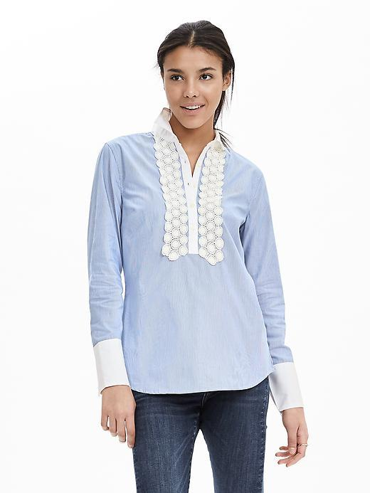 Striped Lace Trim Shirt Bold Blue Stripe - neckline: shirt collar/peter pan/zip with opening; pattern: plain; bust detail: added detail/embellishment at bust; style: shirt; secondary colour: white; predominant colour: pale blue; length: standard; fibres: cotton - 100%; fit: straight cut; sleeve length: long sleeve; sleeve style: standard; texture group: cotton feel fabrics; pattern type: fabric; embellishment: lace; occasions: creative work; season: s/s 2016