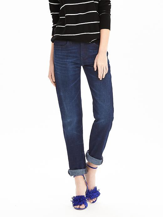 Medium Wash Boyfriend Jean Medium Wash - pattern: plain; style: slim leg; waist: mid/regular rise; predominant colour: navy; occasions: casual, creative work; length: ankle length; fibres: cotton - stretch; jeans & bottoms detail: turn ups; texture group: denim; pattern type: fabric; season: s/s 2016; wardrobe: basic