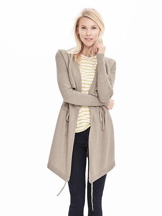 Drawstring Sweater Jacket Beige - pattern: plain; style: single breasted blazer; collar: shawl/waterfall; fit: loose; predominant colour: stone; occasions: casual, creative work; length: mid thigh; sleeve length: long sleeve; sleeve style: standard; collar break: medium; pattern type: fabric; texture group: woven light midweight; fibres: viscose/rayon - mix; season: s/s 2016; wardrobe: basic
