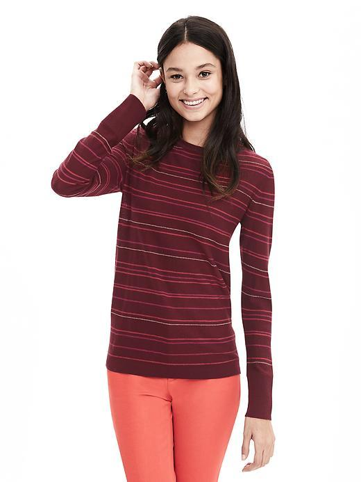 Striped Extra Fine Merino Wool Pullover Sweater Pink Blossom - pattern: horizontal stripes; style: standard; predominant colour: hot pink; occasions: casual, work, creative work; length: standard; fibres: wool - 100%; fit: standard fit; neckline: crew; sleeve length: long sleeve; sleeve style: standard; texture group: knits/crochet; pattern type: knitted - fine stitch; pattern size: big & busy (top); season: s/s 2016; wardrobe: highlight