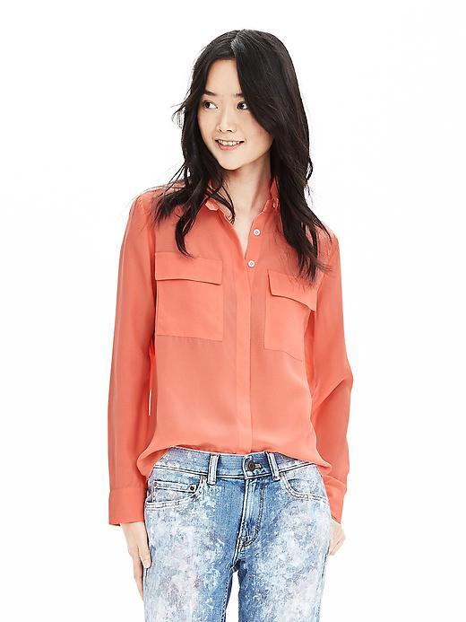 Heritage Textured Silk Blouse Neon Tropics - neckline: shirt collar/peter pan/zip with opening; pattern: plain; style: blouse; predominant colour: pink; occasions: casual, creative work; length: standard; fibres: silk - 100%; fit: straight cut; sleeve length: long sleeve; sleeve style: standard; texture group: sheer fabrics/chiffon/organza etc.; bust detail: bulky details at bust; pattern type: fabric; season: s/s 2016; wardrobe: highlight