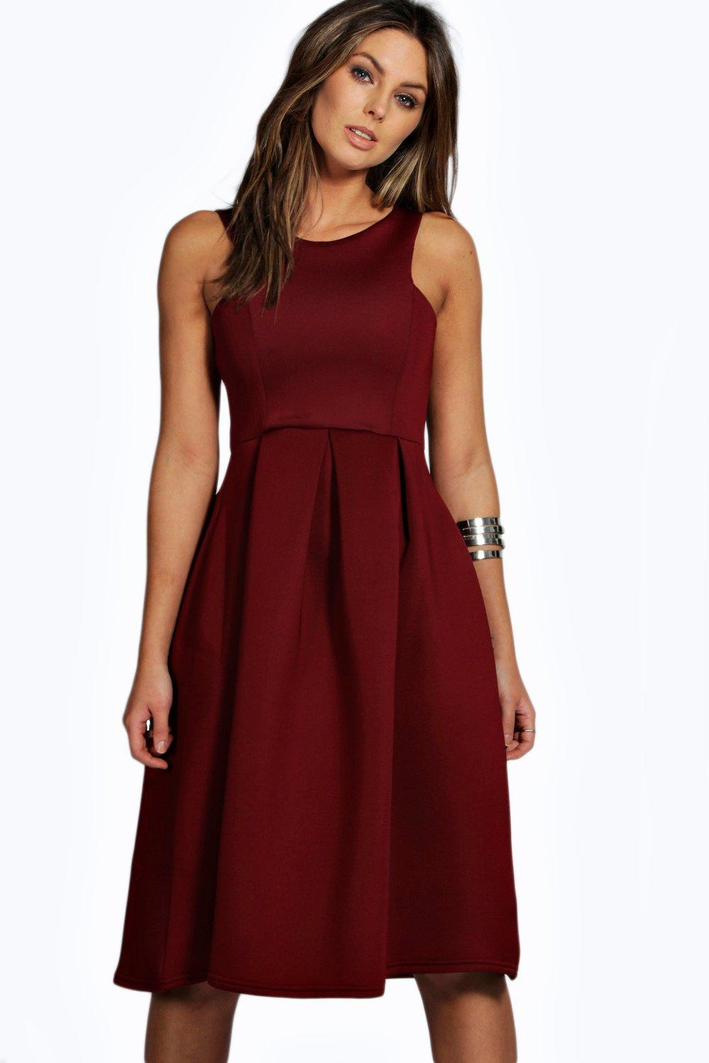 Scuba Cutaway Neckline Midi Dress Black - length: below the knee; neckline: round neck; pattern: plain; sleeve style: sleeveless; predominant colour: burgundy; fit: fitted at waist & bust; style: fit & flare; fibres: polyester/polyamide - stretch; occasions: occasion; hip detail: subtle/flattering hip detail; sleeve length: sleeveless; pattern type: fabric; texture group: jersey - stretchy/drapey; season: s/s 2016; wardrobe: event