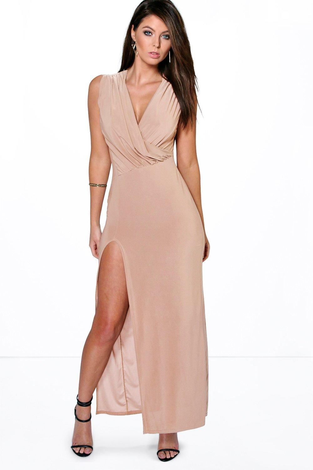 Draped Plunge Thigh Slit Maxi Dress Black - neckline: low v-neck; pattern: plain; sleeve style: sleeveless; style: maxi dress; length: ankle length; waist detail: fitted waist; bust detail: ruching/gathering/draping/layers/pintuck pleats at bust; predominant colour: nude; fit: body skimming; fibres: polyester/polyamide - stretch; occasions: occasion; hip detail: slits at hip; sleeve length: sleeveless; pattern type: fabric; texture group: jersey - stretchy/drapey; season: s/s 2016