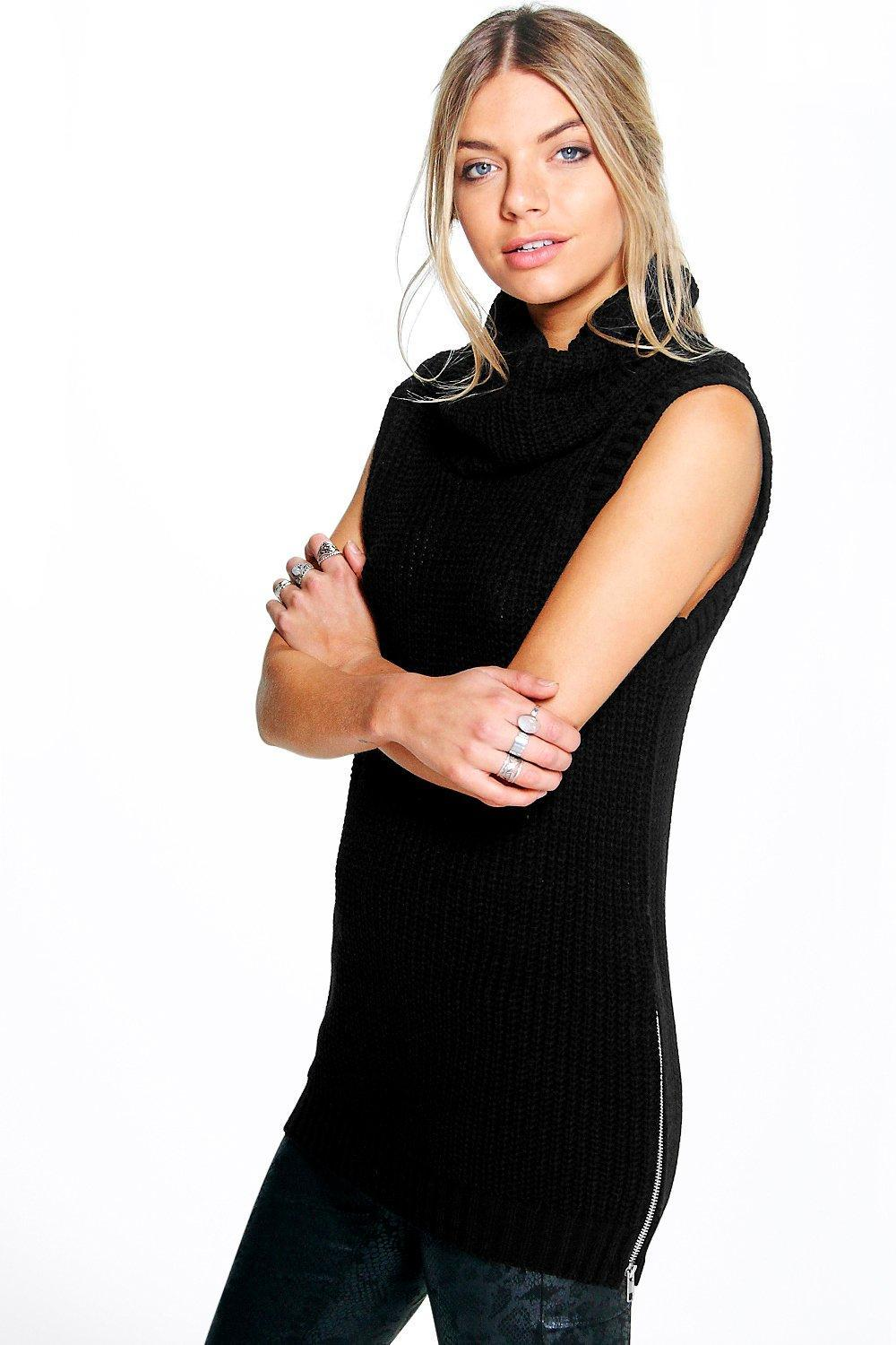 Sleeveless Side Zip Jumper Charcoal - pattern: plain; sleeve style: sleeveless; length: below the bottom; neckline: roll neck; style: standard; predominant colour: black; occasions: casual, creative work; fibres: acrylic - 100%; fit: standard fit; sleeve length: sleeveless; texture group: knits/crochet; pattern type: knitted - other; embellishment: zips; season: s/s 2016; wardrobe: highlight
