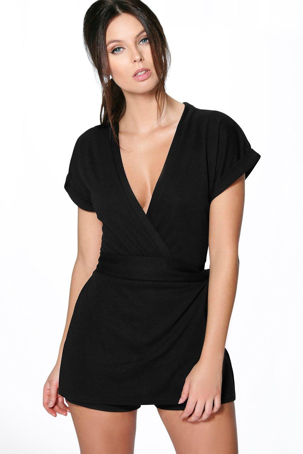 Structured Wrap Belted Ponte Playsuit Stone - neckline: low v-neck; pattern: plain; waist detail: flattering waist detail; length: short shorts; predominant colour: black; occasions: evening; fit: body skimming; fibres: polyester/polyamide - stretch; sleeve length: short sleeve; sleeve style: standard; style: playsuit; pattern type: fabric; texture group: jersey - stretchy/drapey; season: s/s 2016; wardrobe: event