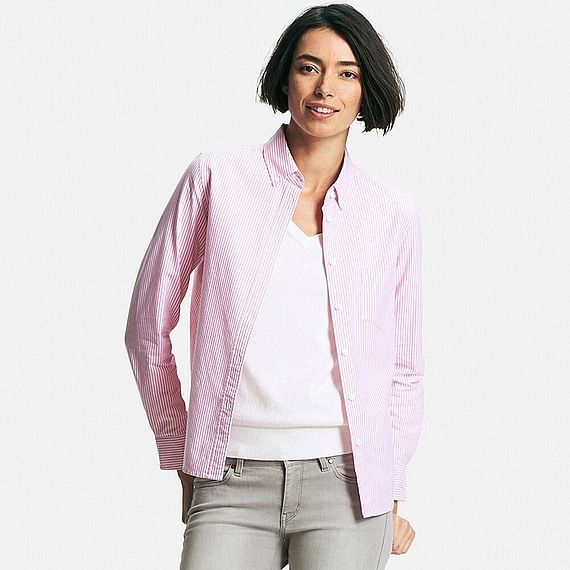 Women Oxford Striped Long Sleeve Shirt Pink - neckline: shirt collar/peter pan/zip with opening; style: shirt; pattern: pinstripe; secondary colour: white; predominant colour: blush; occasions: casual; length: standard; fibres: cotton - 100%; fit: straight cut; sleeve length: long sleeve; sleeve style: standard; texture group: cotton feel fabrics; pattern type: fabric; season: s/s 2016; wardrobe: highlight