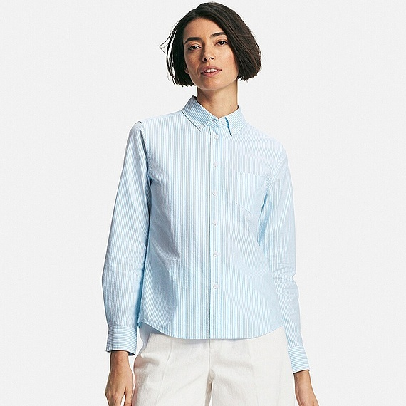 Women Oxford Striped Long Sleeve Shirt Blue - neckline: shirt collar/peter pan/zip with opening; pattern: plain; style: shirt; predominant colour: pale blue; occasions: casual, work, creative work; length: standard; fibres: cotton - 100%; fit: body skimming; sleeve length: long sleeve; sleeve style: standard; texture group: cotton feel fabrics; bust detail: bulky details at bust; pattern type: fabric; season: s/s 2016; wardrobe: highlight