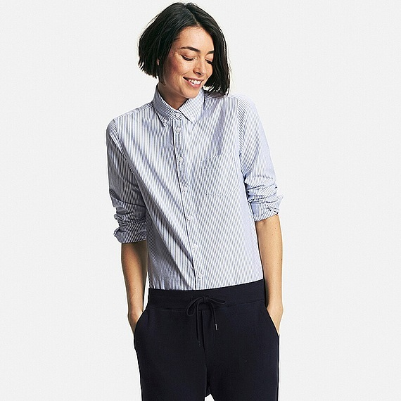 Women Oxford Striped Long Sleeve Shirt Blue - neckline: shirt collar/peter pan/zip with opening; pattern: plain; style: shirt; predominant colour: royal blue; occasions: casual, work, creative work; length: standard; fibres: cotton - 100%; fit: body skimming; sleeve length: long sleeve; sleeve style: standard; texture group: cotton feel fabrics; pattern type: fabric; pattern size: light/subtle; season: s/s 2016; wardrobe: highlight