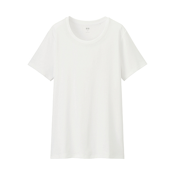 Women Supima Cotton Crew Neck T Shirt White - pattern: plain; style: t-shirt; predominant colour: white; occasions: casual; length: standard; fibres: cotton - 100%; fit: loose; neckline: crew; sleeve length: short sleeve; sleeve style: standard; pattern type: fabric; texture group: jersey - stretchy/drapey; season: s/s 2016; wardrobe: basic