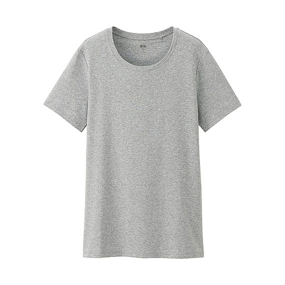 Women Supima Cotton Crew Neck T Shirt Gray - pattern: plain; style: t-shirt; predominant colour: mid grey; occasions: casual; length: standard; fibres: cotton - 100%; fit: body skimming; neckline: crew; sleeve length: short sleeve; sleeve style: standard; pattern type: fabric; texture group: jersey - stretchy/drapey; season: s/s 2016; wardrobe: basic