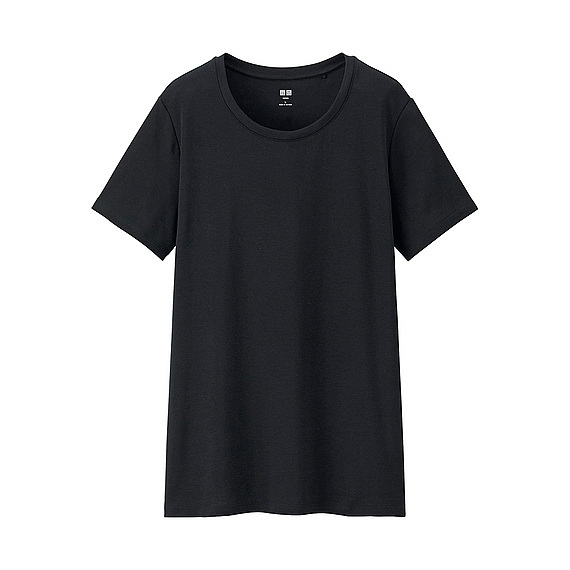 Women Supima Cotton Crew Neck T Shirt Black - neckline: v-neck; pattern: plain; style: t-shirt; predominant colour: black; occasions: casual; length: standard; fibres: cotton - 100%; fit: straight cut; sleeve length: short sleeve; sleeve style: standard; pattern type: fabric; texture group: jersey - stretchy/drapey; season: s/s 2016; wardrobe: basic