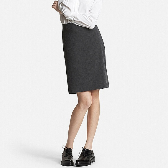 Women Stretch Skirt Gray - pattern: plain; style: straight; waist: high rise; predominant colour: charcoal; length: just above the knee; fibres: polyester/polyamide - mix; fit: straight cut; pattern type: fabric; texture group: woven light midweight; occasions: creative work; season: s/s 2016