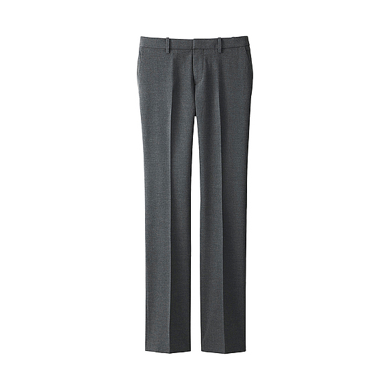 Women Stretch Trousers Gray - length: standard; pattern: plain; waist: mid/regular rise; predominant colour: mid grey; occasions: work; fibres: polyester/polyamide - mix; fit: straight leg; pattern type: fabric; texture group: woven light midweight; style: standard; season: s/s 2016
