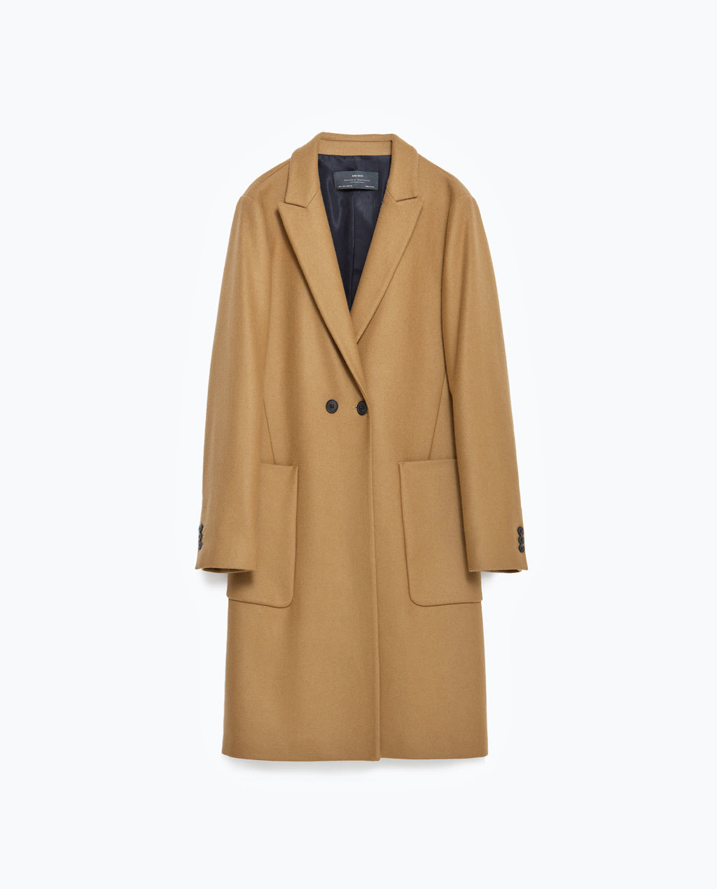 Wool Coat With Lapels - pattern: plain; style: double breasted; length: on the knee; collar: standard lapel/rever collar; predominant colour: camel; occasions: casual, work, creative work; fit: straight cut (boxy); fibres: wool - mix; sleeve length: long sleeve; sleeve style: standard; collar break: low/open; pattern type: fabric; texture group: woven bulky/heavy; season: s/s 2016; wardrobe: basic