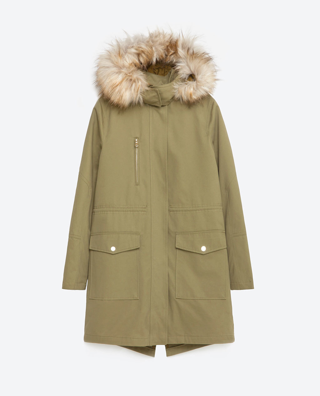 Oversized Parka - pattern: plain; collar: funnel; style: parka; back detail: hood; length: mid thigh; predominant colour: khaki; secondary colour: stone; occasions: casual, creative work; fit: straight cut (boxy); fibres: cotton - 100%; sleeve length: long sleeve; sleeve style: standard; collar break: high/illusion of break when open; pattern type: fabric; texture group: woven light midweight; embellishment: fur; season: s/s 2016; wardrobe: highlight